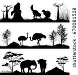 wild animals ring tailed lemur  ... | Shutterstock .eps vector #670081528