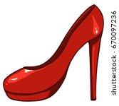 vector red women highheels shoe ... | Shutterstock .eps vector #670097236