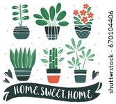 home.sweet.home. set of cute... | Shutterstock .eps vector #670104406