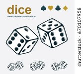 dice icon. hand drawn two game... | Shutterstock .eps vector #670107958