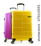plastic suitcases isolated on... | Shutterstock . vector #670115092