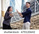 sales woman insurance offering... | Shutterstock . vector #670120642