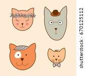 cute cats illustration series | Shutterstock .eps vector #670125112