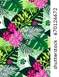 seamless exotic pattern with... | Shutterstock .eps vector #670126672
