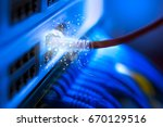 utp cables connected to network ... | Shutterstock . vector #670129516