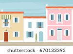 multi colored houses in the... | Shutterstock .eps vector #670133392
