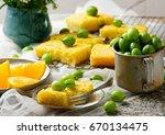 gooseberry and  orange drizzle... | Shutterstock . vector #670134475