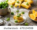 gooseberry and  orange drizzle... | Shutterstock . vector #670134508