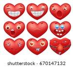 smiley red hearts emoticon... | Shutterstock .eps vector #670147132