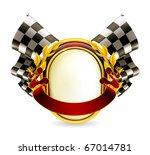 Flag Checkered Emblem  Eps10
