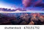 grand canyon sunset approaching ... | Shutterstock . vector #670151752