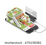 online shopping isometric... | Shutterstock .eps vector #670158382