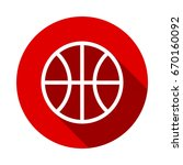 basketball icon isolated on red ... | Shutterstock .eps vector #670160092