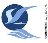 tern flying over sea waves ... | Shutterstock .eps vector #670164376