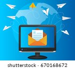 paper airplanes flying around... | Shutterstock .eps vector #670168672