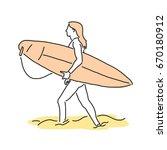 summer sports. surfing in... | Shutterstock .eps vector #670180912