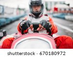 karting race  go cart driver in ... | Shutterstock . vector #670180972