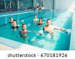 women aqua aerobics traninig... | Shutterstock . vector #670181926