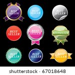 set of stickers on a black... | Shutterstock .eps vector #67018648