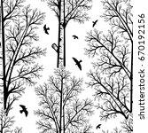 vector black and white birch... | Shutterstock .eps vector #670192156