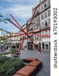 Small photo of PORTO, PORTUGAL - APRIL 20, 2017: Diogo Aguiar Studio modern Installation - START at Largo dos Loios. Start is formalization results from geometric subdivision of icosahedrons into twenty equal parts.