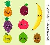cute cartoon fruit characters... | Shutterstock .eps vector #670193212