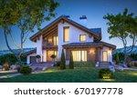3d rendering of modern cozy... | Shutterstock . vector #670197778