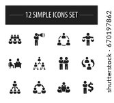set of 12 editable community... | Shutterstock .eps vector #670197862