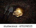 Mining Golden Bitcoins - stock photo