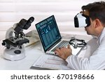 doctor with virtual reality... | Shutterstock . vector #670198666