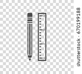 pencil with ruler vector icon | Shutterstock .eps vector #670199188