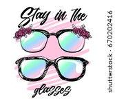 summer print with glasses.... | Shutterstock .eps vector #670202416