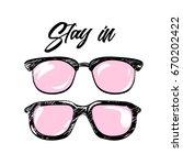 summer print with glasses.... | Shutterstock .eps vector #670202422