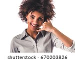 beautiful young afro american... | Shutterstock . vector #670203826