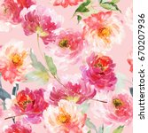 seamless summer pattern with... | Shutterstock . vector #670207936
