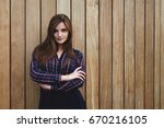 beautiful hipster girl with... | Shutterstock . vector #670216105
