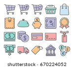 collection of outlined icons ... | Shutterstock .eps vector #670224052