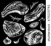 hand drawn sketch meat set.... | Shutterstock . vector #670225792