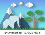 cut elephants  tree  clouds ... | Shutterstock .eps vector #670237516