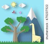 cut giraffes  mountains  tree ... | Shutterstock .eps vector #670237522