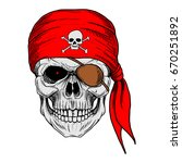Skull Pirate With Red Bandana ...