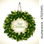 realistic christmas wreath with ... | Shutterstock .eps vector #67025491