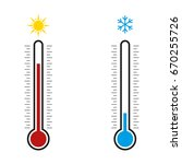 Thermometer. Hot  Cold. Vector...