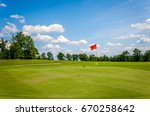golf course  with scenic... | Shutterstock . vector #670258642