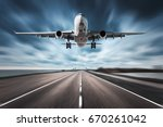 airplane and road with motion... | Shutterstock . vector #670261042