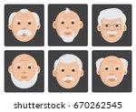 set of face old men on gray... | Shutterstock .eps vector #670262545