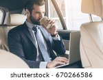 young business man test drive... | Shutterstock . vector #670266586