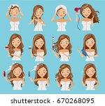 cute teenage girl is washing... | Shutterstock .eps vector #670268095