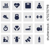 set of 16 training icons set... | Shutterstock .eps vector #670270798