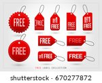 set of red free tags icon.... | Shutterstock .eps vector #670277872